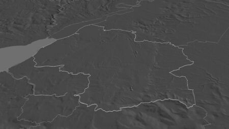 Zoom in on South Gloucestershire (unitary authority of England) outlined. Oblique perspective. Bilevel elevation map with surface waters. 3D rendering