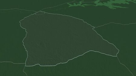Zoom in on Flores (department of Uruguay) outlined. Oblique perspective. Colored and bumped map of the administrative division with surface waters. 3D rendering