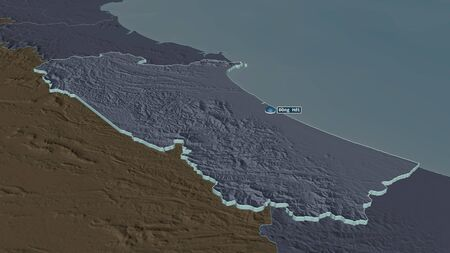 Zoom in on Quảng Bình (province of Vietnam) extruded. Oblique perspective. Colored and bumped map of the administrative division with surface waters. 3D rendering