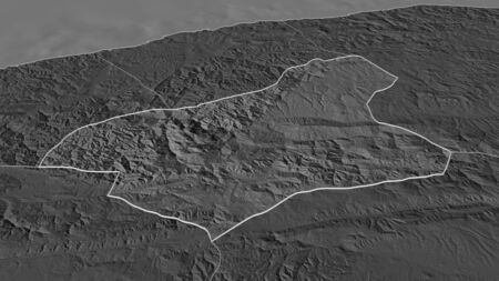 Zoom in on Karabük (province of Turkey) outlined. Oblique perspective. Bilevel elevation map with surface waters. 3D rendering 写真素材