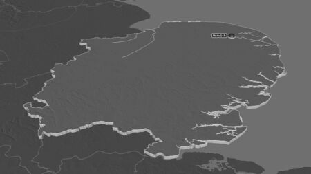 Zoom in on East of England (region of United Kingdom) extruded. Oblique perspective. Bilevel elevation map with surface waters. 3D rendering 写真素材
