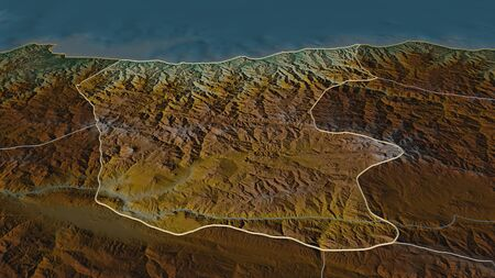 Zoom in on Giresun (province of Turkey) outlined. Oblique perspective. Topographic relief map with surface waters. 3D rendering 写真素材