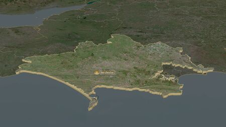 Zoom in on Dorset (administrative county of England) extruded. Oblique perspective. Satellite imagery. 3D rendering 写真素材
