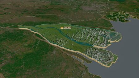 Zoom in on Bến Tre (province of Vietnam) extruded. Oblique perspective. Satellite imagery. 3D rendering
