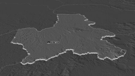 Zoom in on Đăk Nông (province of Vietnam) extruded. Oblique perspective. Bilevel elevation map with surface waters. 3D rendering