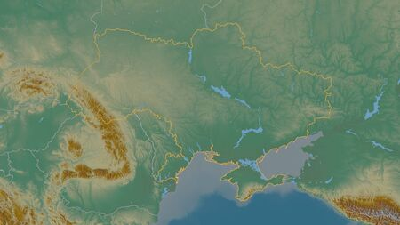 Outlined shape of the Ukraine area. Topographic relief map with surface waters. 3D rendering