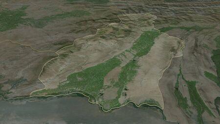 Zoom in on Surkhandarya (region of Uzbekistan) outlined. Oblique perspective. Satellite imagery. 3D rendering