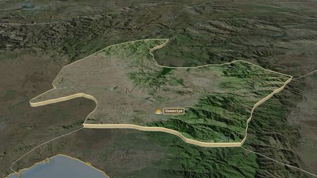 Zoom in on Osmaniye (province of Turkey) extruded. Oblique perspective. Satellite imagery. 3D rendering 写真素材