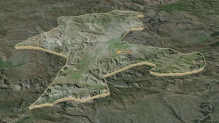 Zoom in on Malatya (province of Turkey) extruded. Oblique perspective. Satellite imagery. 3D rendering