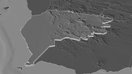 Zoom in on Ta`izz (governorate of Yemen) extruded. Oblique perspective. Bilevel elevation map with surface waters. 3D rendering 写真素材