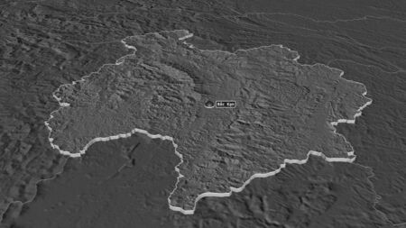 Zoom in on Bắc Kạn (province of Vietnam) extruded. Oblique perspective. Bilevel elevation map with surface waters. 3D rendering