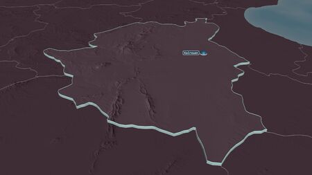Zoom in on Kairouan (governorate of Tunisia) extruded. Oblique perspective. Colored and bumped map of the administrative division with surface waters. 3D rendering