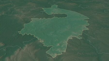 Zoom in on Warwickshire (administrative county of England) outlined. Oblique perspective. Topographic relief map with surface waters. 3D rendering 写真素材