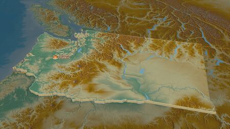 Zoom in on Washington (state of United States) extruded. Oblique perspective. Topographic relief map with surface waters. 3D rendering