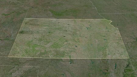 Zoom in on Kansas (state of United States) outlined. Oblique perspective. Satellite imagery. 3D rendering 写真素材