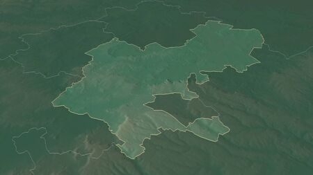 Zoom in on Central Bedfordshire (administrative county of England) outlined. Oblique perspective. Topographic relief map with surface waters. 3D rendering