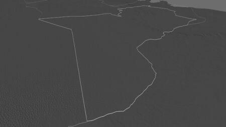 Zoom in on Tataouine (governorate of Tunisia) outlined. Oblique perspective. Bilevel elevation map with surface waters. 3D rendering 写真素材