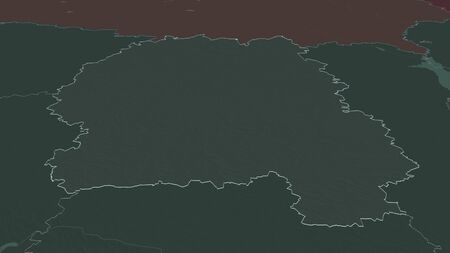 Zoom in on Zhytomyr (region of Ukraine) outlined. Oblique perspective. Colored and bumped map of the administrative division with surface waters. 3D rendering