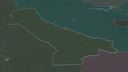 Zoom in on Chardzhou (province of Turkmenistan) outlined. Oblique perspective. Colored and bumped map of the administrative division with surface waters. 3D rendering 写真素材