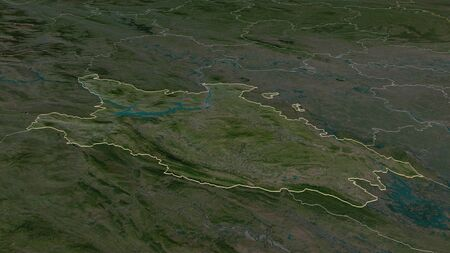 Zoom in on Hòa Bình (province of Vietnam) outlined. Oblique perspective. Satellite imagery. 3D rendering