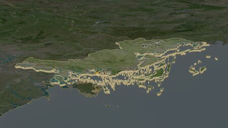 Zoom in on Quảng Ninh (province of Vietnam) extruded. Oblique perspective. Satellite imagery. 3D rendering