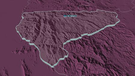 Zoom in on Al Mahwit (governorate of Yemen) extruded. Oblique perspective. Colored and bumped map of the administrative division with surface waters. 3D rendering 写真素材