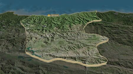 Zoom in on Giresun (province of Turkey) extruded. Oblique perspective. Satellite imagery. 3D rendering 写真素材