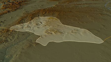 Zoom in on Kilis (province of Turkey) outlined. Oblique perspective. Topographic relief map with surface waters. 3D rendering
