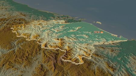 Zoom in on Quảng Nam (province of Vietnam) extruded. Oblique perspective. Topographic relief map with surface waters. 3D rendering 写真素材