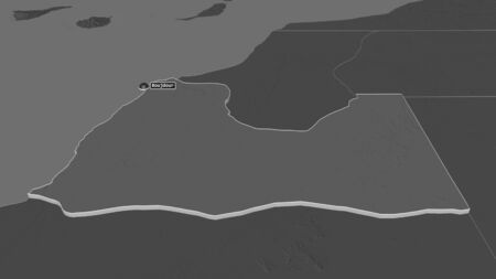 Zoom in on Boujdour (province of Western Sahara) extruded. Oblique perspective. Bilevel elevation map with surface waters. 3D rendering