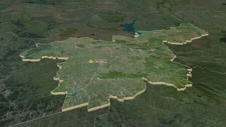 Zoom in on Saraburi (province of Thailand) extruded. Oblique perspective. Satellite imagery. 3D rendering