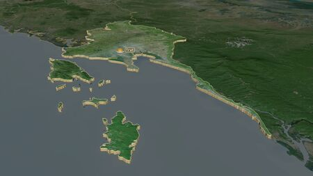 Zoom in on Trat (province of Thailand) extruded. Oblique perspective. Satellite imagery. 3D rendering