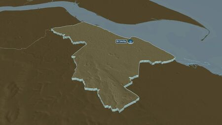 Zoom in on North East Lincolnshire (unitary authority of England) extruded. Oblique perspective. Colored and bumped map of the administrative division with surface waters. 3D rendering 写真素材