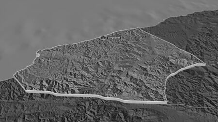 Zoom in on Zonguldak (province of Turkey) extruded. Oblique perspective. Bilevel elevation map with surface waters. 3D rendering