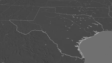 Zoom in on Texas (state of United States) outlined. Oblique perspective. Bilevel elevation map with surface waters. 3D rendering