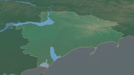 Zoom in on Zaporizhzhya (region of Ukraine) outlined. Oblique perspective. Topographic relief map with surface waters. 3D rendering 写真素材