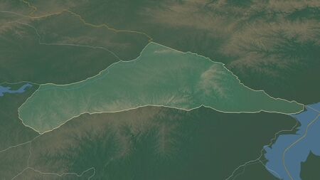Zoom in on Cerro Largo (department of Uruguay) outlined. Oblique perspective. Topographic relief map with surface waters. 3D rendering