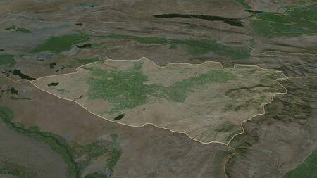 Zoom in on Kashkadarya (region of Uzbekistan) outlined. Oblique perspective. Satellite imagery. 3D rendering