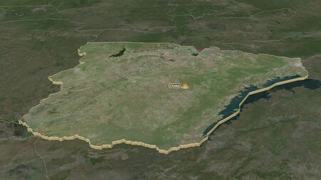 Zoom in on Southern (province of Zambia) extruded. Oblique perspective. Satellite imagery. 3D rendering
