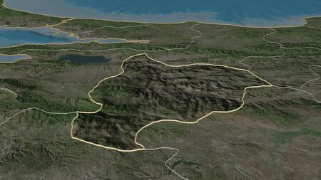 Zoom in on Bilecik (province of Turkey) outlined. Oblique perspective. Satellite imagery. 3D rendering