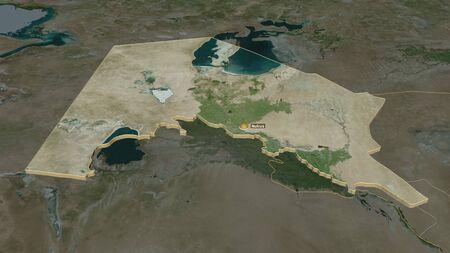 Zoom in on Karakalpakstan (autononous region of Uzbekistan) extruded. Oblique perspective. Satellite imagery. 3D rendering