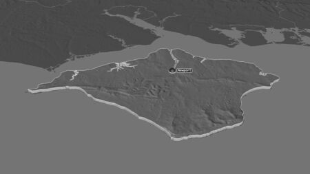 Zoom in on Isle of Wight (unitary authority of England) extruded. Oblique perspective. Bilevel elevation map with surface waters. 3D rendering 写真素材