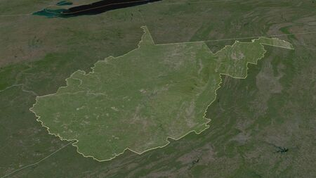 Zoom in on West Virginia (state of United States) outlined. Oblique perspective. Satellite imagery. 3D rendering 写真素材