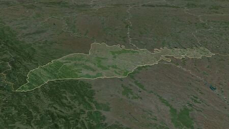 Zoom in on Chernivtsi (region of Ukraine) outlined. Oblique perspective. Satellite imagery. 3D rendering
