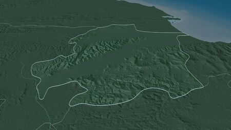 Zoom in on Yaracuy (state of Venezuela) outlined. Oblique perspective. Colored and bumped map of the administrative division with surface waters. 3D rendering 写真素材