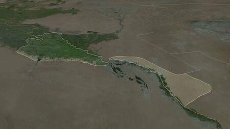 Zoom in on Khorezm (region of Uzbekistan) outlined. Oblique perspective. Satellite imagery. 3D rendering