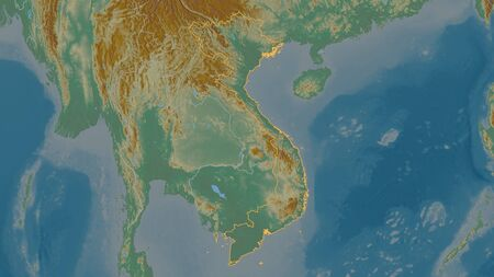 Outlined shape of the Vietnam area. Topographic relief map with surface waters. 3D rendering