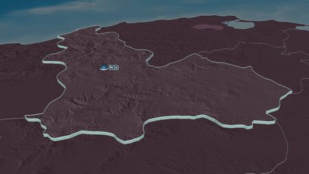 Zoom in on Béja (governorate of Tunisia) extruded. Oblique perspective. Colored and bumped map of the administrative division with surface waters. 3D rendering