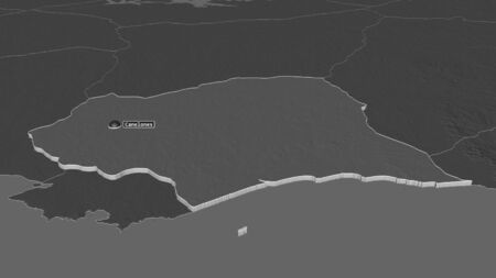 Zoom in on Canelones (department of Uruguay) extruded. Oblique perspective. Bilevel elevation map with surface waters. 3D rendering