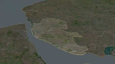 Zoom in on Liverpool (administrative county of England) outlined. Oblique perspective. Satellite imagery. 3D rendering